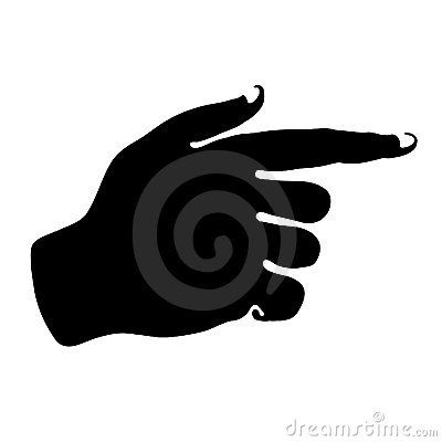 Hand silhouette icon directed right