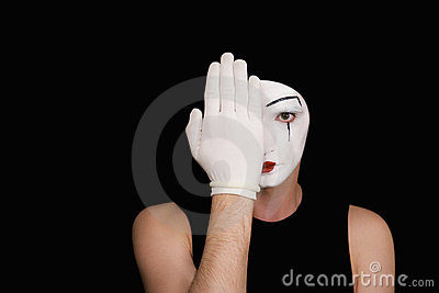 Mime in white gloves