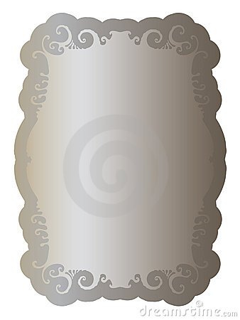 Label with elegant clean ornament old silver