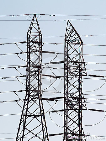 Two high tension power line towers