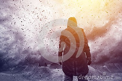 Conceptual image of young female person facing uncertain future