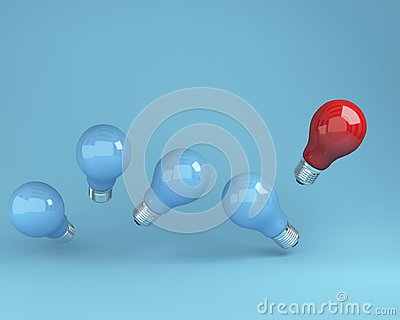 Outstanding light bulbs red in air one different idea from the others on blue background