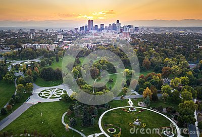 Sunset over Denver cityscape, aerial view from the park