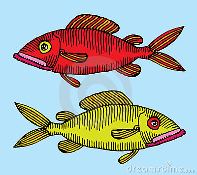 Red and green fish hand drawing