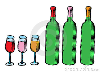 Three wine bottles with glasses