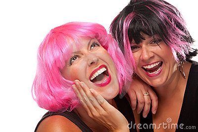 Portrait of Two Pink And Black Haired Girls