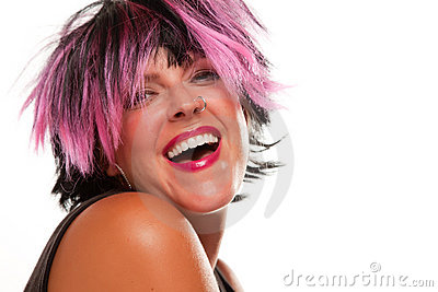 Laughing Pink And Black Haired Girl Portrait