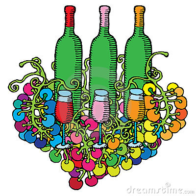Wine bottles with glasses and grape