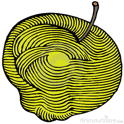Yellow apple engraved