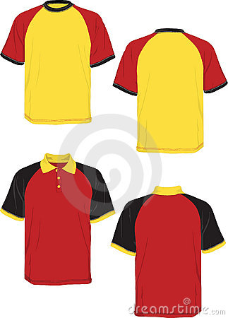 Tshirt polo-red yellow black-model sleeve.