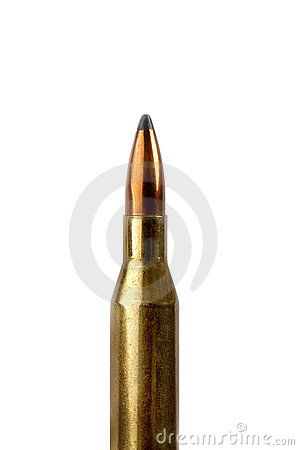 Single bullet isolated on white background