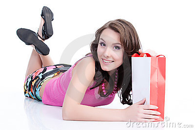 Young Emotional Woman With Paper Bag