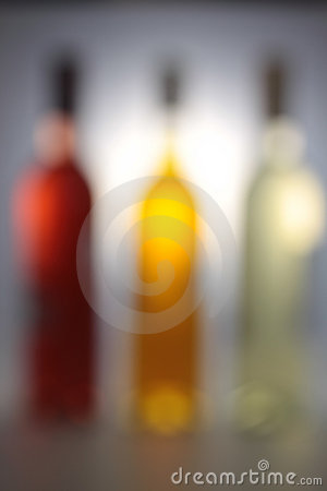 Three wine bottles with backlight