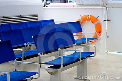 Blue seats onboard ferry