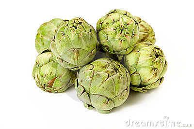 Isolated Baby Artichokes
