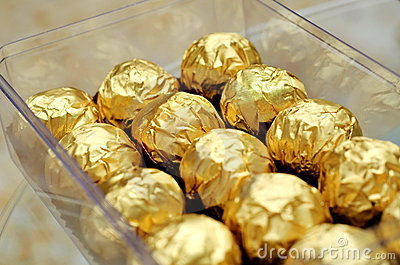 Chocolate wrapped in gold foils