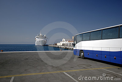 Cruise ship and bus