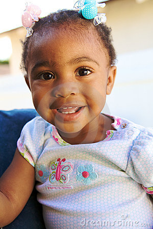 A Beautiful African American Baby smiling