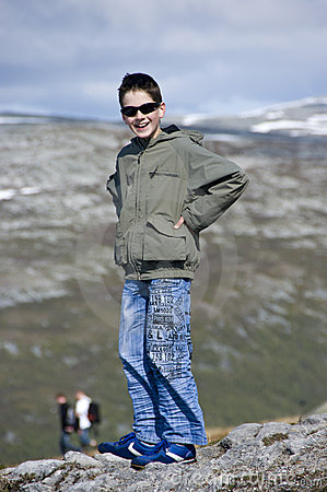 Boy in mountains