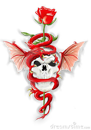 Red dragon with skull and rose - Hand draw