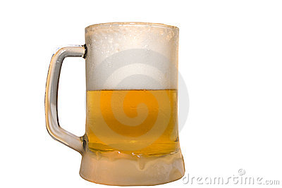Frozen glass filled with ice cold beer
