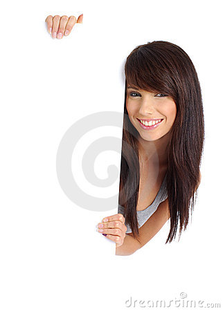Sexy girl holding a blank board.