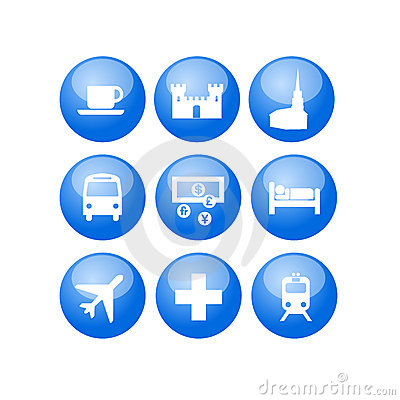 Travel map guide utility icons