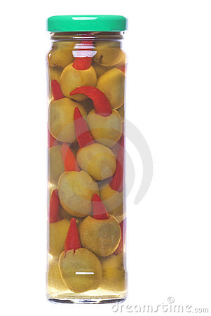 Pickled Pepper Olives in a Bottle Isolated