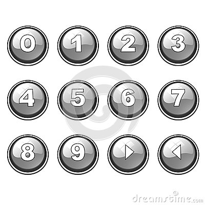 Gray round internet button collection