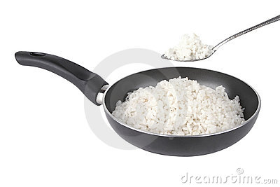 White rice on fry pan