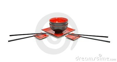 Japanese sushi service for two isolated