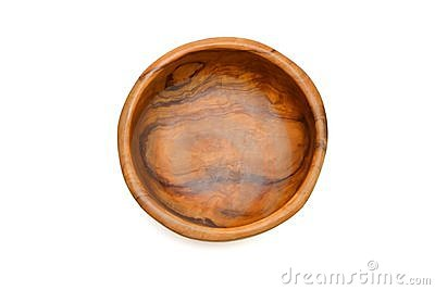 Wooden bowl top view solated