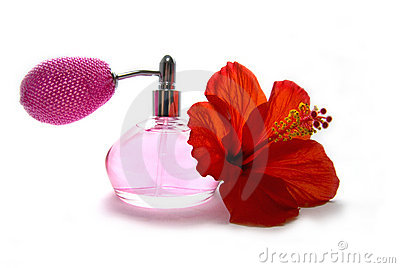 Bottle of perfume and Hibiscus