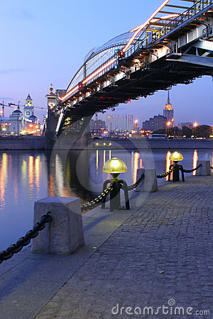 Torch on quay of the Moscow-river, Russia