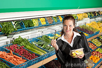 Grocery store - Business woman buying salad