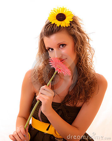 Woman with flower isolated