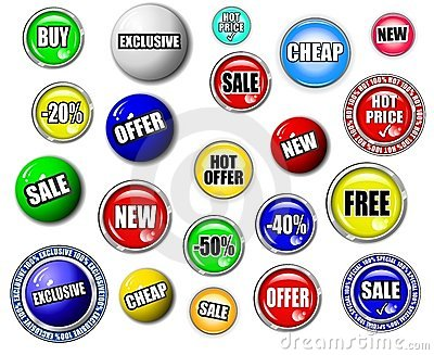 High quality shopping button, symbol, sign set