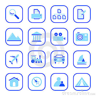 Travel and Photo icons - blue series