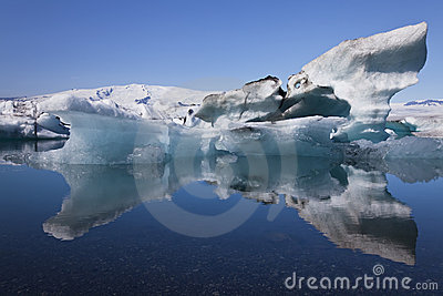 Iceberg and Reflection Jokulsarlon Lagoon, Iceland