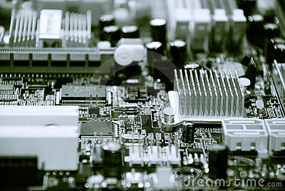 Closeup of computer motherboard