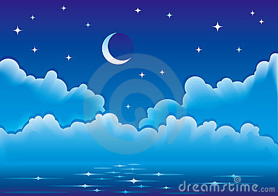 Vector seascape with clouds, moon and stars