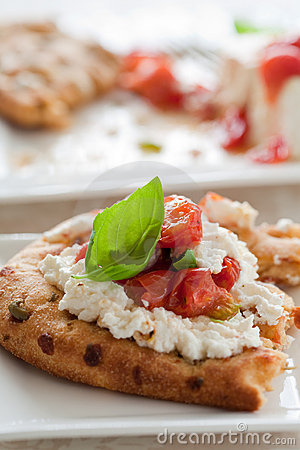 Naan bread with oven roasted ricotta