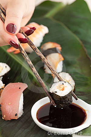 Dipping the sushi