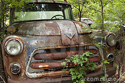 Junk Yard Truck with trees and weeds
