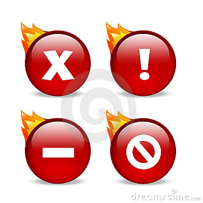 Glossy red website error icons with flames