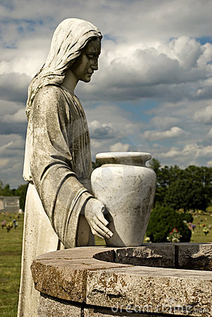 Cemetery Statue of Woman at the Well