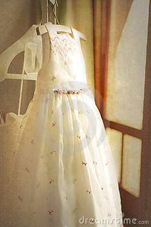 Flower girl dress on wedding day
