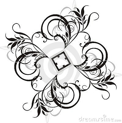 Element of floral ornament for design