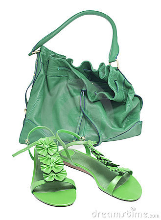 Sandals and green bags