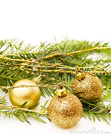 Christmas celebration with golden baubles
